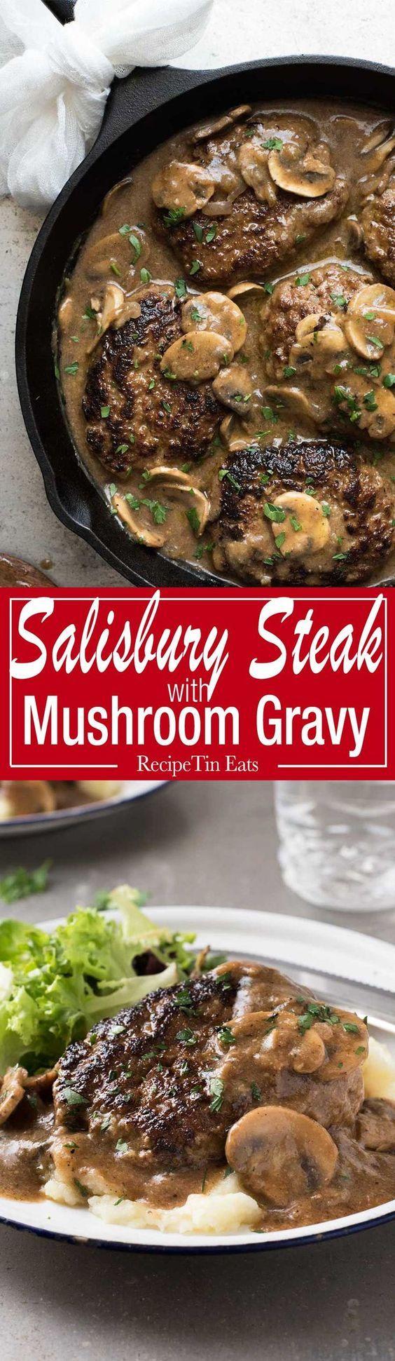 A juicy Salisbury Steak recipe with Mushroom Gravy Salisbury Steak Sauce. Easy to make with a restaurant trick for an extra tasty gravy!