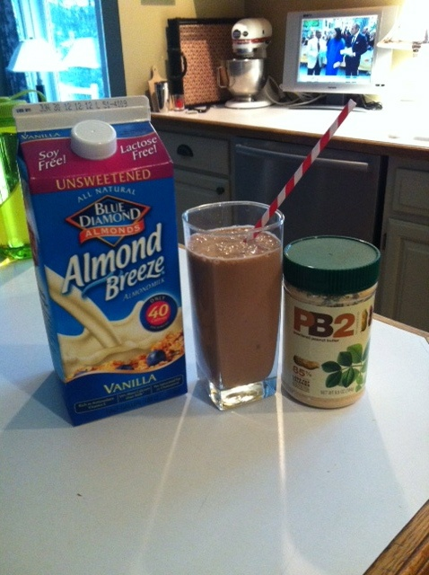 chocolate peanut butter protein shake! via @Amanda Tyson  1 scoop chocolate protein powder (designer whey brand)  1 cup unsweetened vanilla almond milk  1-2 tbsp PB2 (powdered peanut butter)  1/2 fresh banana  crushed ice