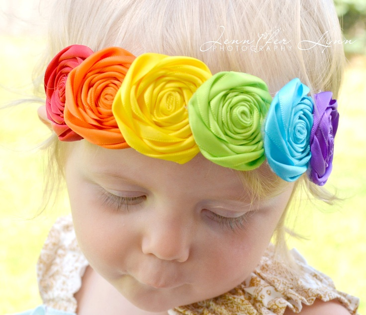 Rainbow Headbands... Baby Girls Headbands... Back to School... Birthday Headbands. $18.95, via Etsy.