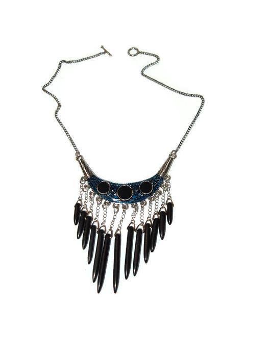 collier ras de cou avec perles semi précieuses noir : Collier par creattitude-bijoux