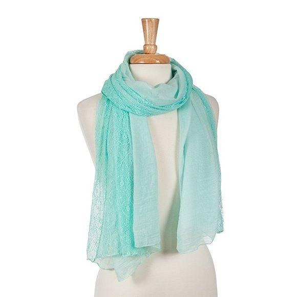 Mint and Lace Lightweight Scarf A color of the summer! This open scarf is 100% Polyester. Great addition to your summer wardrobe. 2nd pic is not actual item, just an idea I found on Pinterest for styling only. (This closet does not trade or use PayPal) Son Paises Accessories Scarves & Wraps
