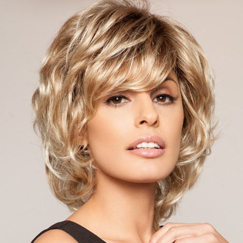 Shaggy Curly Capless Short Side Bang Heat Resistant Fiber Elegant Brown Ombre Blonde Women's Wig