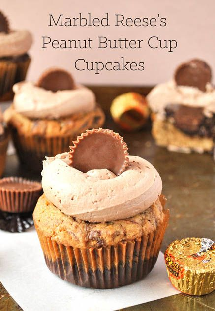 Marbled Reese's Peanut Butter Cup Cupcakes