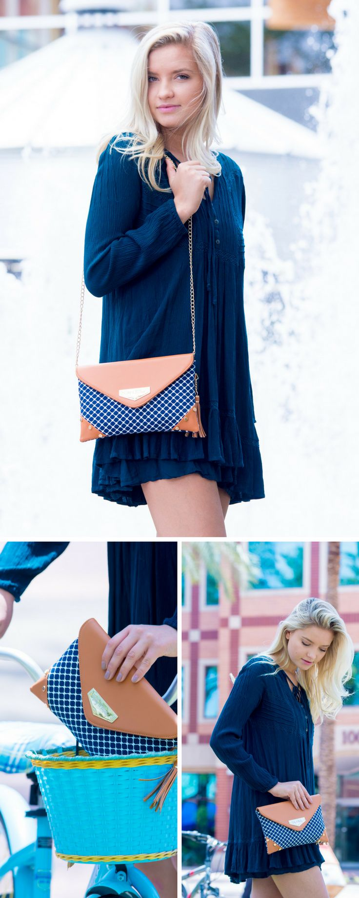 This Kelly & Molly blue clutch is amazing. I love the way it looks! The navy purse goes with all of my summer outfits. It is the perfect blue accessory.