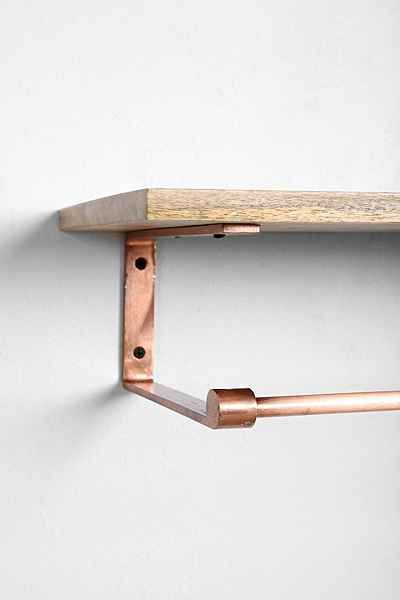 Copper Wood Coat Rack Shelf - Urban Outfitters
