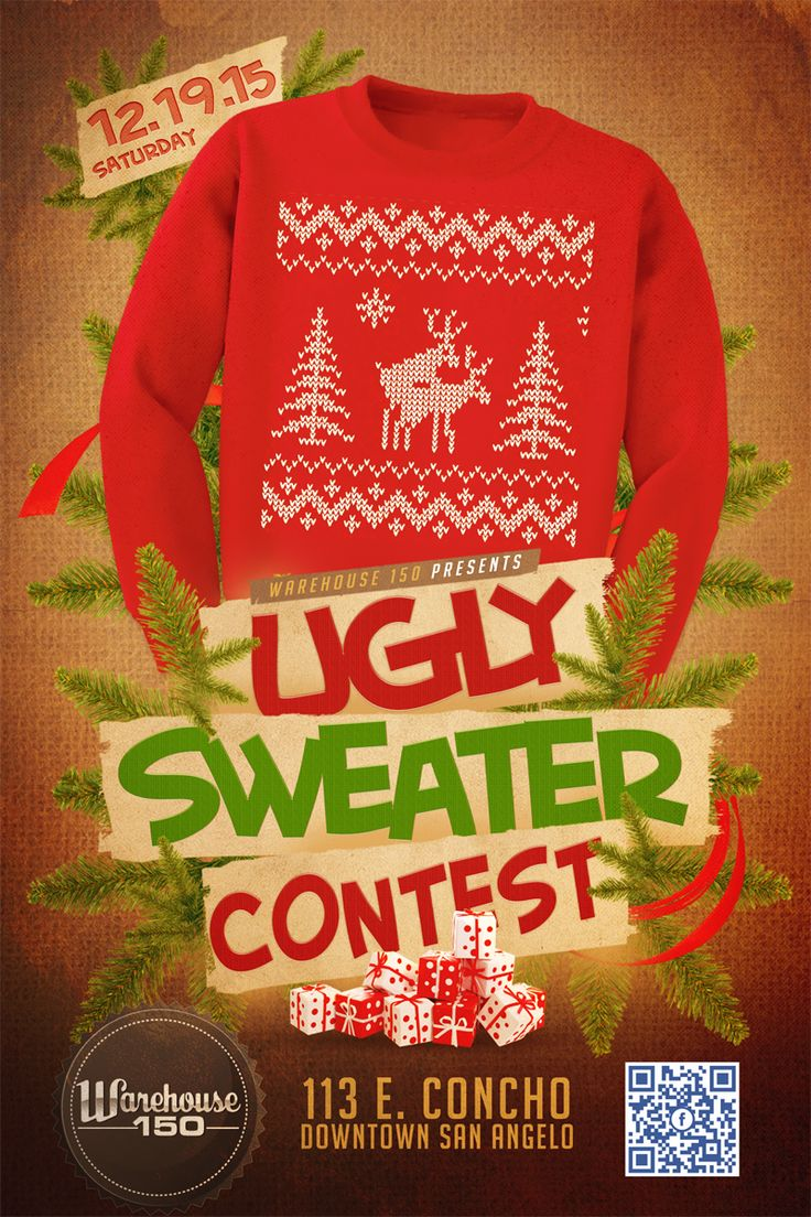 #UglySweater Contest poster/flyer design for Warehouse 150 ...