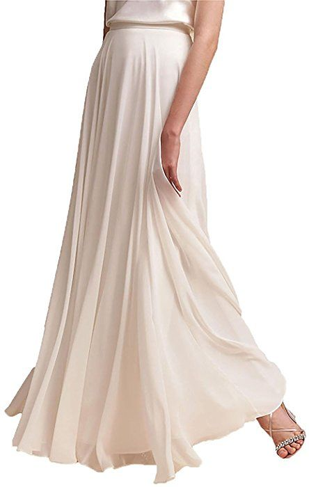 eb3c4eb3d406 $30 xs-4xl Ivory Omelas Women Long Floor Length Chiffon High Waist Skirt  Maxi Bridesmaid Pary Dress (Black, XXXL) at Amazon Women's Clothing store: