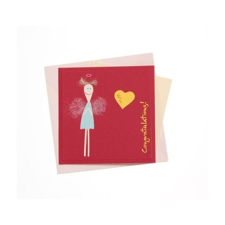 """""""Congratulations"""" Square Greeting Card with Skinny Angel""""Congratulations"""" Square Greeting Card with Skinny Angel"""