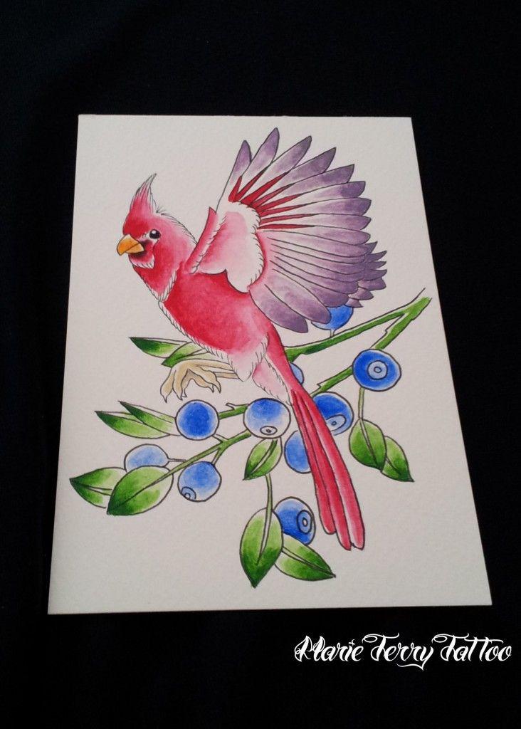 Cardinal Bird, Custom Neo Traditional Tattoo Designs by Marie Terry - London Tattoo Artist.