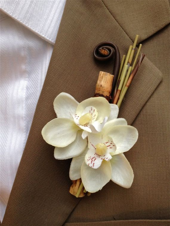 Phalaenopsis Orchid Bamboo Boutonniere Beach Tropical Destination Wedding by JsWorldOfWonder, 16$ each for 5 or less, 13$ each for 6 or more