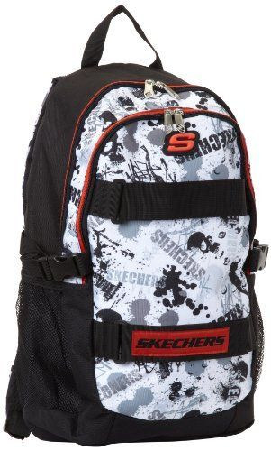Skechers Boys 8-20 All Over Print Grundge, Black/White/Red, 0 Skechers. $9.41. Made in China. Front velcro straps for skateboard storage-skateboard not included. 100% polyester. Hand Wash. Allover print front panel. Save 69% Off!