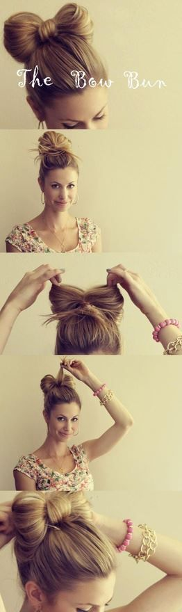 20 Clever And Interesting Tutorials For Your Hairstyle | Bow Buns, Buns and Bows