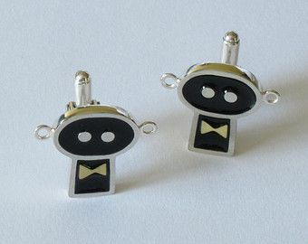 Sterling silver, resin and brass cufflinks- Handmade robot cufflinks-Wedding gift-Gentils robots are twins