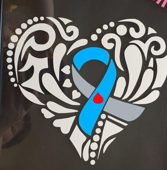 Grey and Light Blue Awareness Ribbon Tribal Heart Window Decal (Type 1 Diabetes)