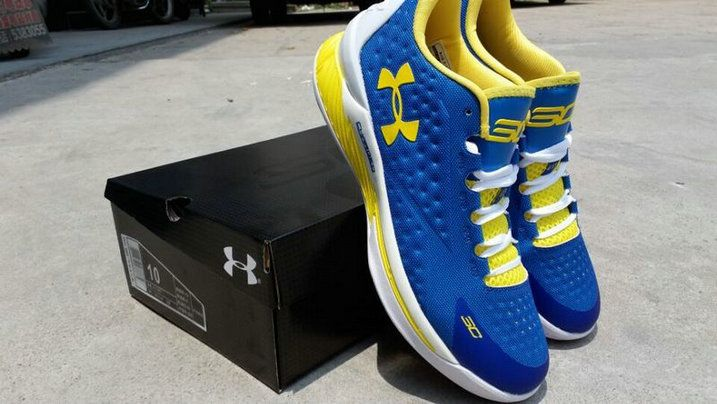 Under Armour Curry 1 One Low Warriors Home Photo Blue Yellow  a96725464984