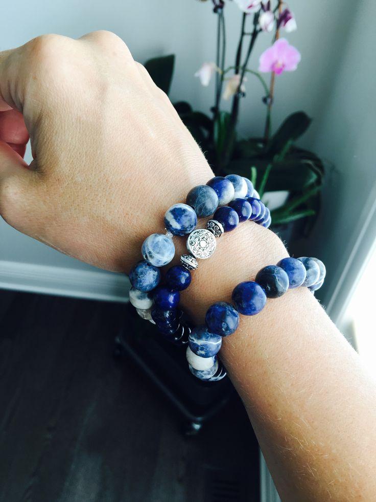 Sodalite and Lapis Lazuli Stretch Bracelets www.etsy.com/shop/ukulifebeads
