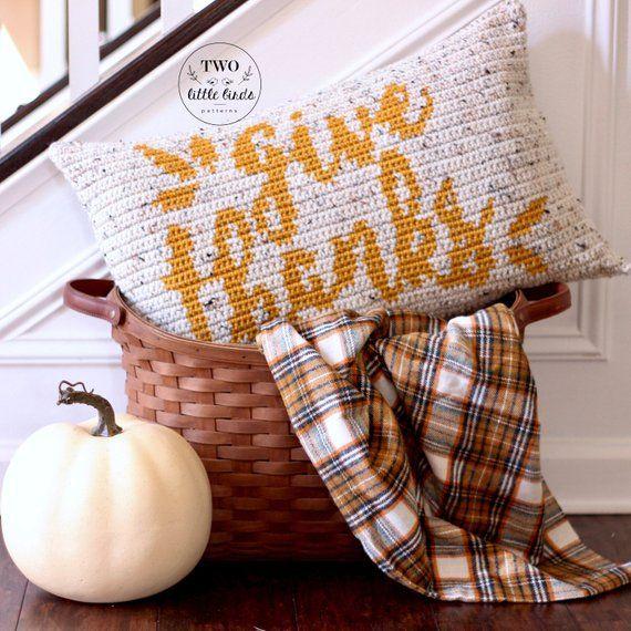 Thanksgiving Crochet Pattern Fall Crochet Pattern Home Decor Crochet Pillow Pattern Crochet Graphgan Pattern Crochet Pumpkin Pattern