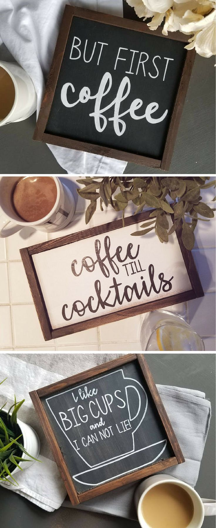 Signs for the coffee obsessed | Rustic Wood Signs for Coffee Station | Coffee Bar | Gift for Coffee Lovers | Farmhouse Decor | Chalkboard Signs | quotes | HeatherRayDesign on Etsy #coffee #ad #farmhouse #coffeestation #rustichomedecor #coffeequotes #homedecorideas #momlife