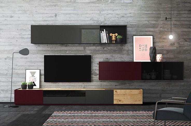 Elegant and modern living room. Modularity free.  Elegante y moderno salón. Ideas para un salón moderno y elegante. Acabados: roble nudoso, cristal taiga brillo, taiga mate, cristal parsol gris, roble nudoso, taiga mate y roble.