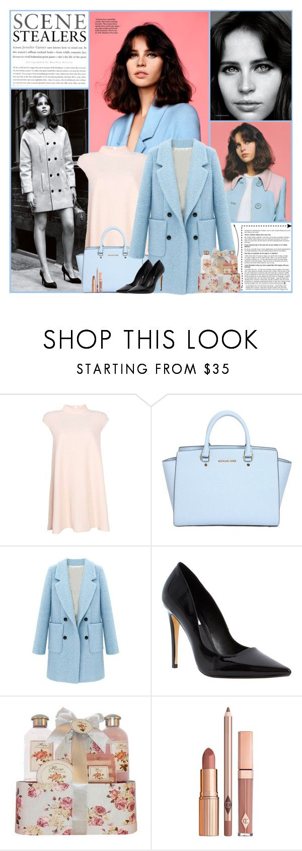 """Felicity Jones"" by kittyfantastica ❤ liked on Polyvore featuring Alasdair, Boohoo, MICHAEL Michael Kors and Dune"