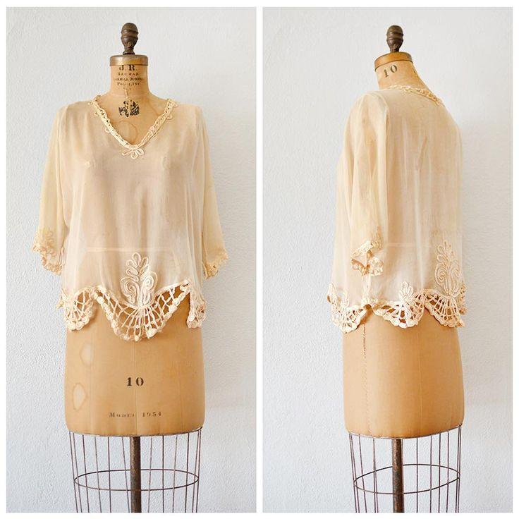 new! vintage 1920s Fenwood Breeze silk chiffon top • www.adoredvintage.com