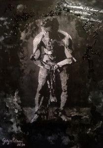 Oggi vi propongo qualcosa di diverso dalle incisioni. Si tratta di una tela dipinta nel 2014 con acrilici e decupage. L'immagine è quella del famosissimo escapologo ed illusionista, Harry Houdini tela 45x60 #arte #pittura