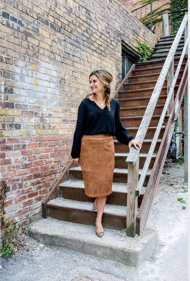d172c0bb2 Vince Camuto bubble sleeve top, suede midi skirt with a pop of leopard!  Such a great look for work! #ShopStyle #shopthelook #justposted  #justpostedblog ...