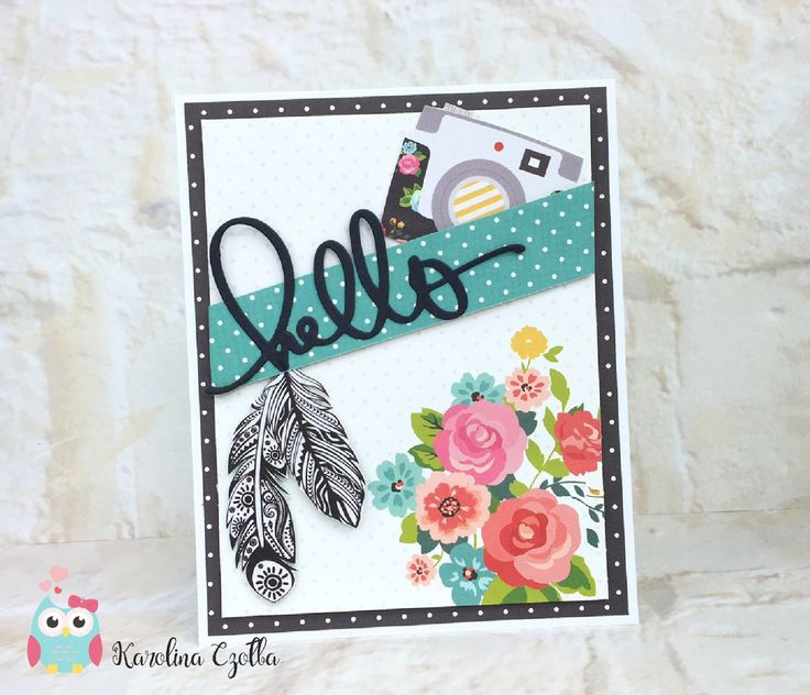 Blue Owl Avenue / DIY - scrapbooking - garden Hello card, papers from Simple Stories, hello from Kesi'art, cardmaking, scrapbooking