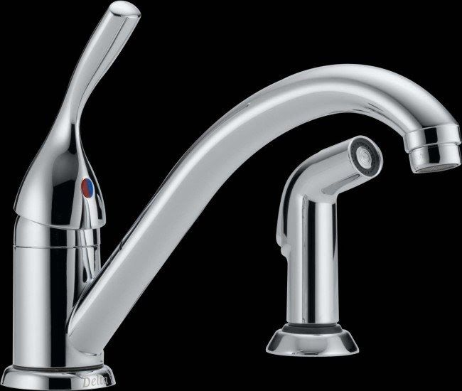 Delta Single Handle Kitchen Faucet With Sprayer Delta 175 Dst Classic Single Handle Ki In 2020 Single Handle Kitchen Faucet Kitchen Faucet With Sprayer Kitchen Faucet