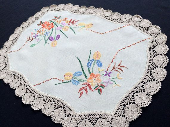 Large Vintage Embroidered Cream Linen Doily/Placemat/Table Runner. Purple and Mauve Irises Design with Rich Ecru Crochet Edging RBT0906