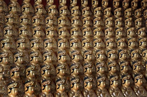 Rows of gold buddha