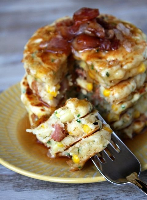 Bacon and Corn Griddle Cakes - I think I'll try these using Kodiak Mix to reduce the WW points. These sound YUMMY!!!