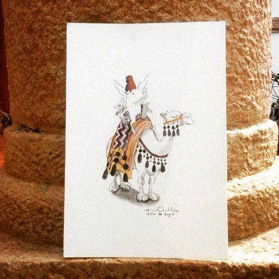 Olivia in Morocco / Original in Watercolor / 9 x 6 In by MAramburo