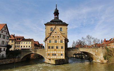 壁紙をダウンロードする 旧市街ホール, bayern, バンベルク, ドイツ