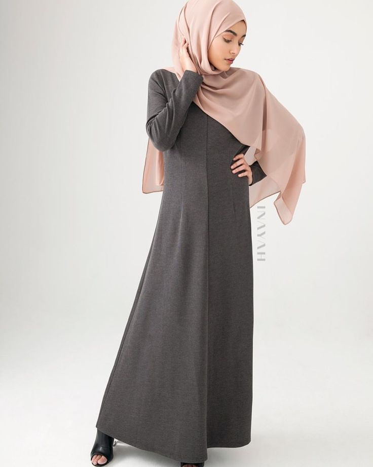 INAYAH | At INAYAH we design and create beautiful modest clothing; our maxi dresses are available in multiple lengths and sizes to provide comfortable, modest and sophisticated style - Charcoal Tailored #Maxi #Dress with #Flare + Pair with our Sphinx Soft Crepe #Hijab + Medium Nude Soft Cotton Scrunchy - www.inayah.co