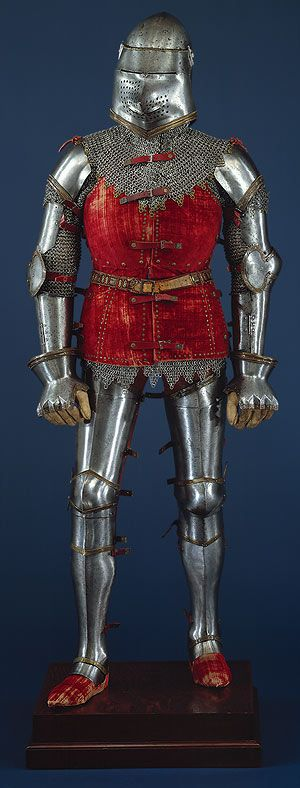 Armor, ca. 1400 and later  Italian  Steel, brass, textile    H. 66 1/2 in. (168.9 cm)  Bashford Dean Memorial Collection, Gift of Helen Fahnestock Hubbard, in memory of her father, Harris C. Fahnestock, 1929 (29.154.3)