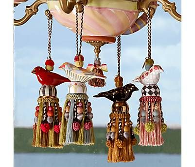 Ceramic Bird Tassel -  $68 - This songbird tassel has so much personality you can practically hear it sing! A fine fledgling in hand-painted ceramic, for decorating door knobs, finials, curtains, or for a high-flying ceiling fan pull. Passementerie tassels and trims.