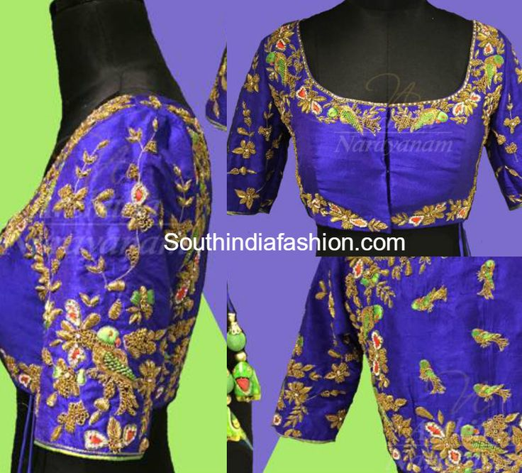Raw silk parrot design maggam work blouse embellished with zardosi work and thread work by Archita Narayanam. Related PostsMaggam Work Blouse for Silk SareesMaggam Embroidered Blouse DesignsMaggam Work BlouseEmbroidered Blouse Designs