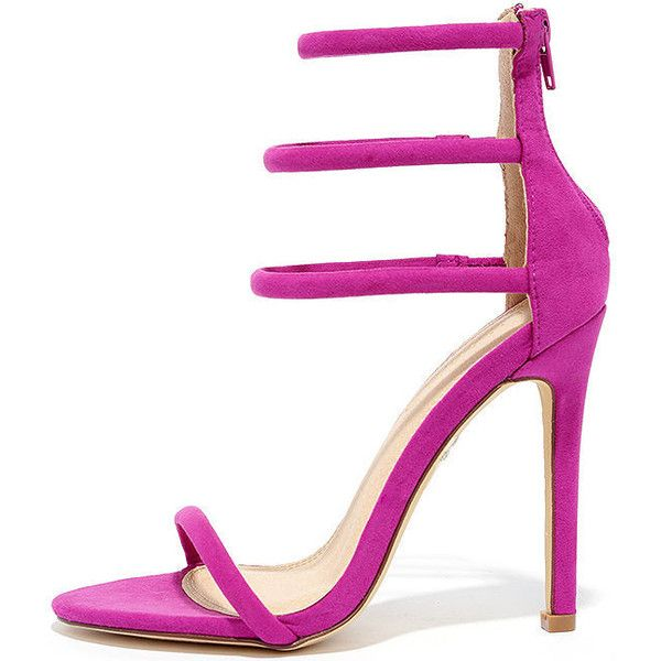 Floor is Yours Purple Suede High Heel Sandals ($16) ❤ liked on Polyvore featuring shoes, sandals, heels, sapatos, purple, strap sandals, wrap around sandals, strappy sandals, strappy heeled sandals and elastic sandals