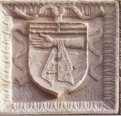 """Philippe de Villiers de L'Isle-Adam. -- Né au plus tard en 1462 et décédé en 1534. Fils de Jacques de Villiers et de Jeanne de Nesle. -- """"d'or au chef d'azur chargé d'un dextrochère d'hermine, vêtu d'un manipule du même brochant sur le tout"""""""