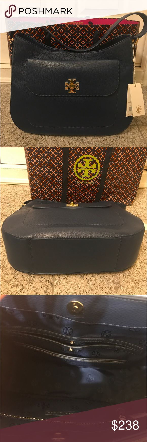 "TORY BURCH MERCER SLOUCHY HOBO BAG TIDAL WAVE BLUE Blue pebbled leather (TIDAL WAVE) Gold-tone hardware Leather hobo shoulderstrap with 8.5"" drop Turnlock closure Interior zippered pocket, snap pocket and two slip pockets Tory Burch Bags Hobos"