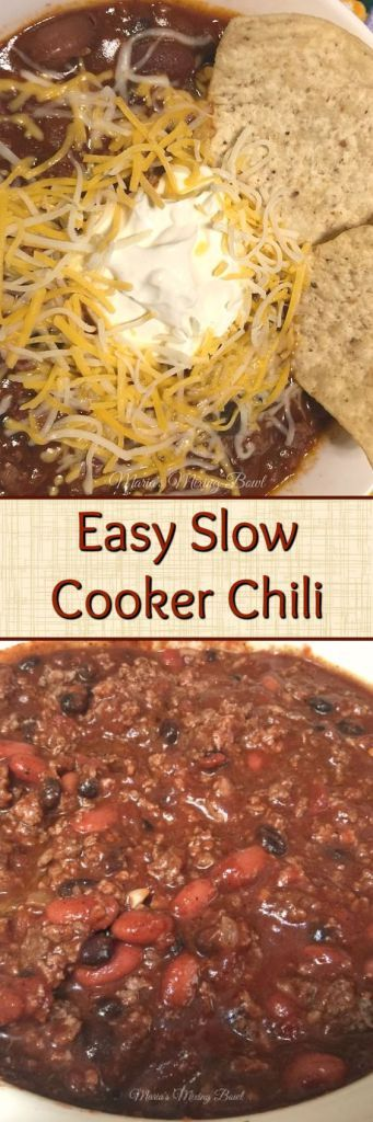 Easy Slow Cooker Chili - One of the easiest and most delicious meals we make in the slow cooker.  Thick and hearty and total comfort food. This is one of our favorite meals