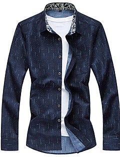 Masculino+Camisa+Social+Casual+Tamanhos+Grandes+Simples+Todas+as+Estações,Listrado+Algodão+Elastano+Decote+Quadrado+Manga+Longa+Média+–+BRL+R$+50,25