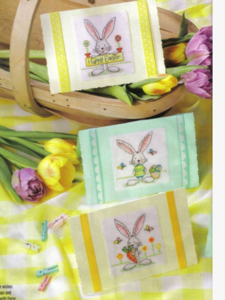 Easter Bunnies 2/2 Cross Stitch Card Shop Issue 101 March/April 2015 Saved