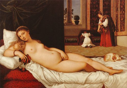 Venus of Urbino, Titian Compared to Manet's Olympia it's quite obvious who's the winner! But I love them both anyway..