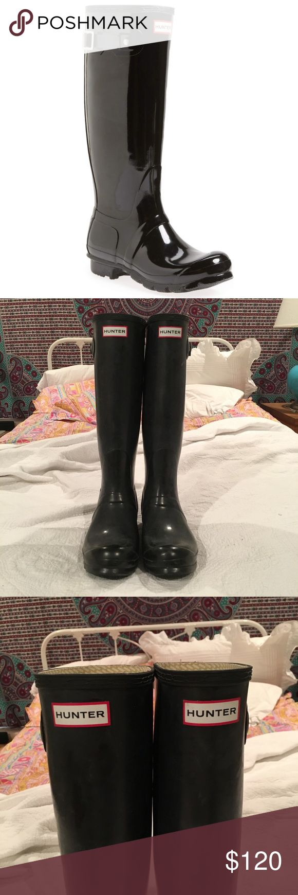 "Tall Hunter Rain Boots ""Original High Gloss"" size 10. Great shape, only worn a handful of times. Paired great with the Hunter Boot socks for sale in my closet! Hunter Boots Shoes Winter & Rain Boots"