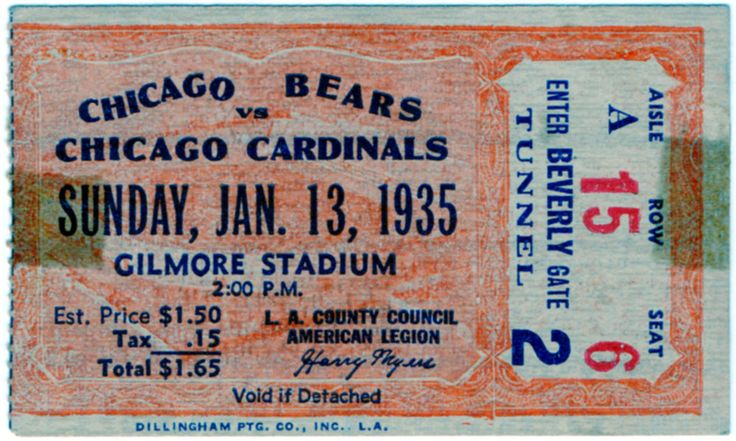 1935 Chicago Bears vs Chicago Cardinals NFL Ticket Stub (Gilmore Stadium, Los Angeles) by LlwynLlwyfenni on Etsy