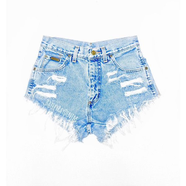 High Waisted Jean Shorts High Waisted Cutoffs Denim Cheeky All Sizes... (€28) ❤ liked on Polyvore featuring shorts, bottoms, short, light blue, women's clothing, ripped jean shorts, high-waisted shorts, jean shorts, cut-off jean shorts and cut off jean shorts
