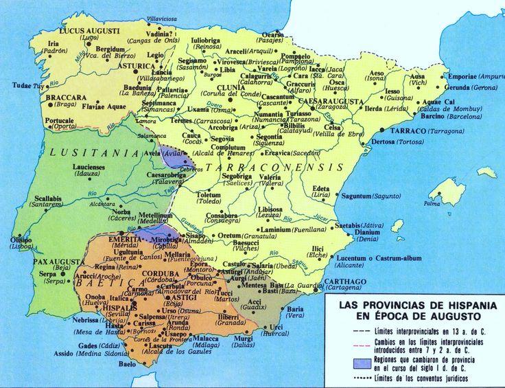 Províncias de Hispania en época de Augusto / Caius Iulius Caesar Augustus (Roma, 23 de septiembre de 63 a. C. – Nola, 19 de agosto de 14 d. C.), en español Cayo Julio César Augusto, conocido como César Augusto y más habitualmente sólo como Augusto, fue el primer emperador del Imperio romano. Gobernó entre 27 a. C. y 14 d. C., año de su muerte, convirtiéndose así en el emperador romano con el reinado más prolongado de la Historia.
