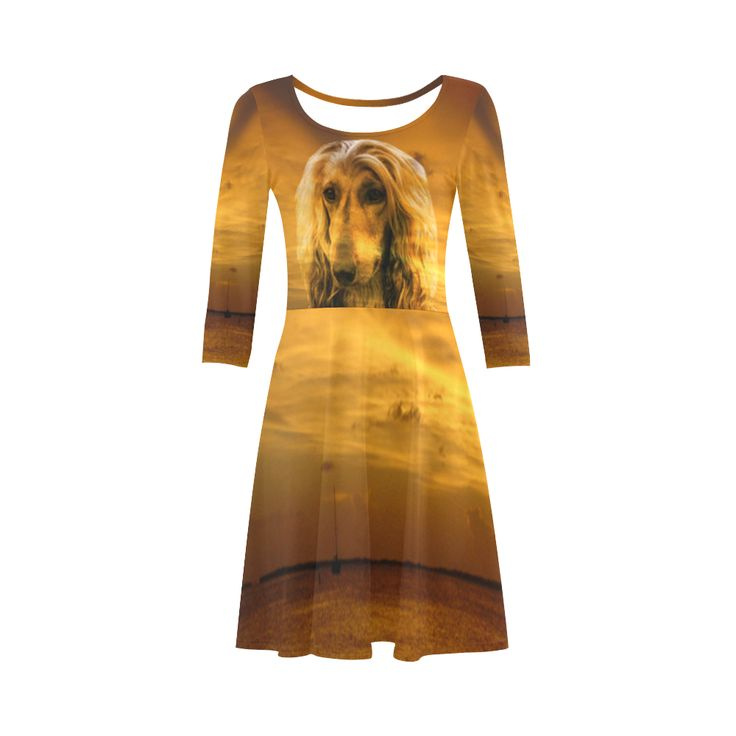 Dog Afghan Hound 3/4 Sleeve Sundress. Material: 92% Polyester, 8% Spandex, well made lightweight soft fabric, skin-friendly. Sizes: XS, S, M, L, XL, XXL, XXXL.FREE Shipping. #beoriginalstore #dresses